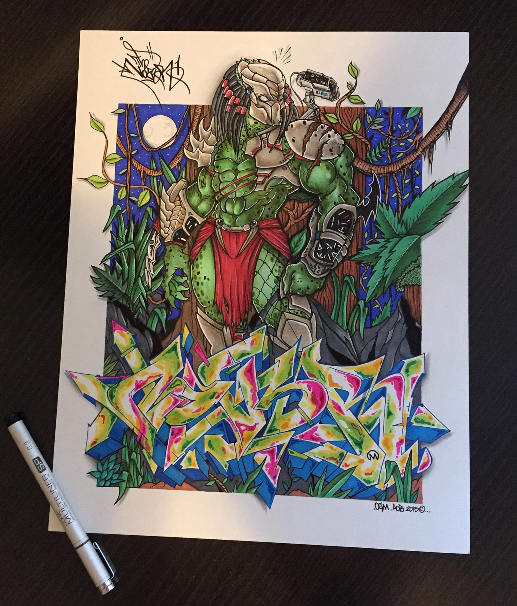 Predator by Nover, Pens and Markers on Paper, 2015.