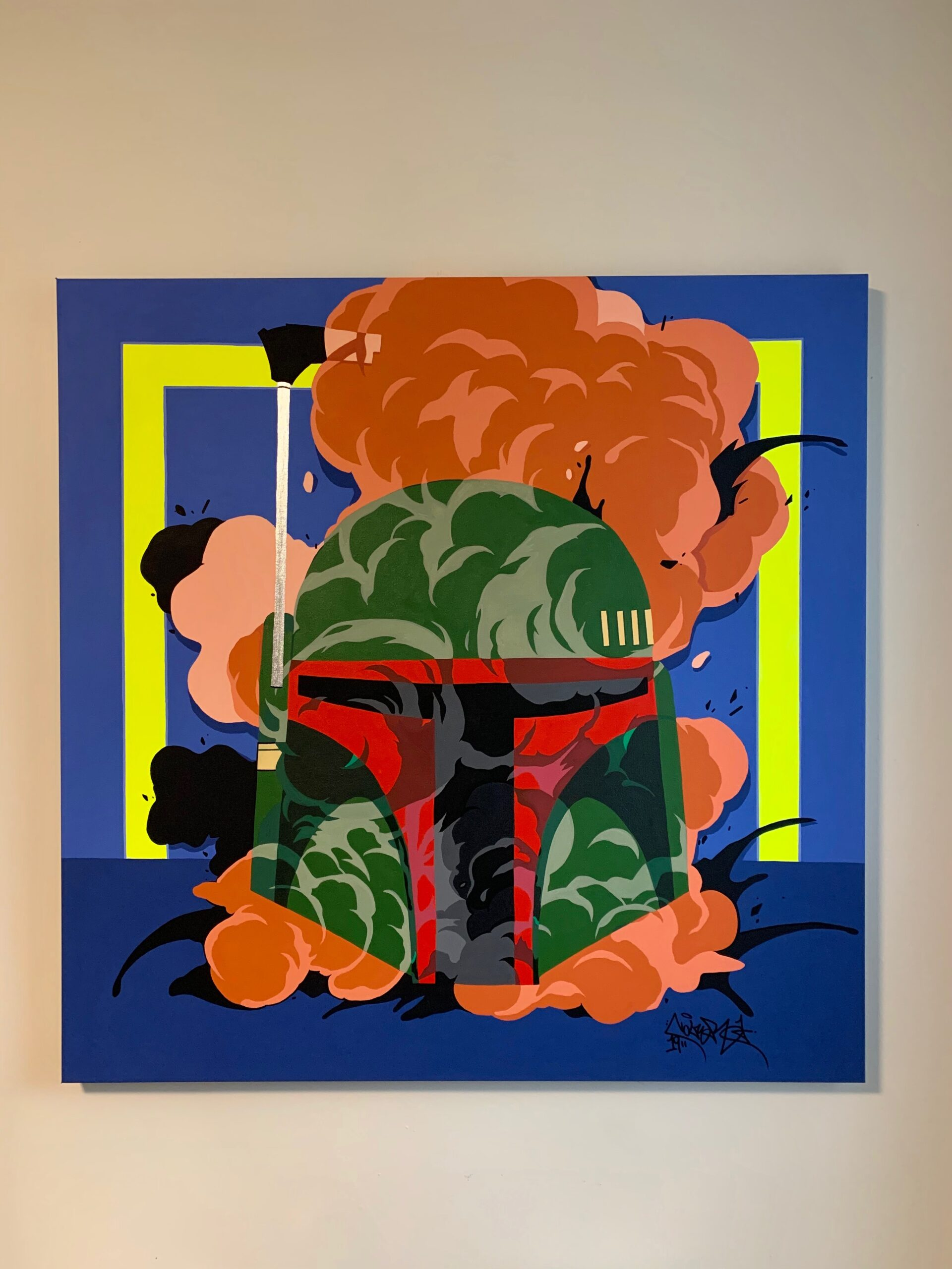 """""""Mango Fett"""" 36 x 36, Acrylic Paint on Canvas. Presented at the Akwaaba Gallery in """"The Dirty Dozen"""", 2019."""