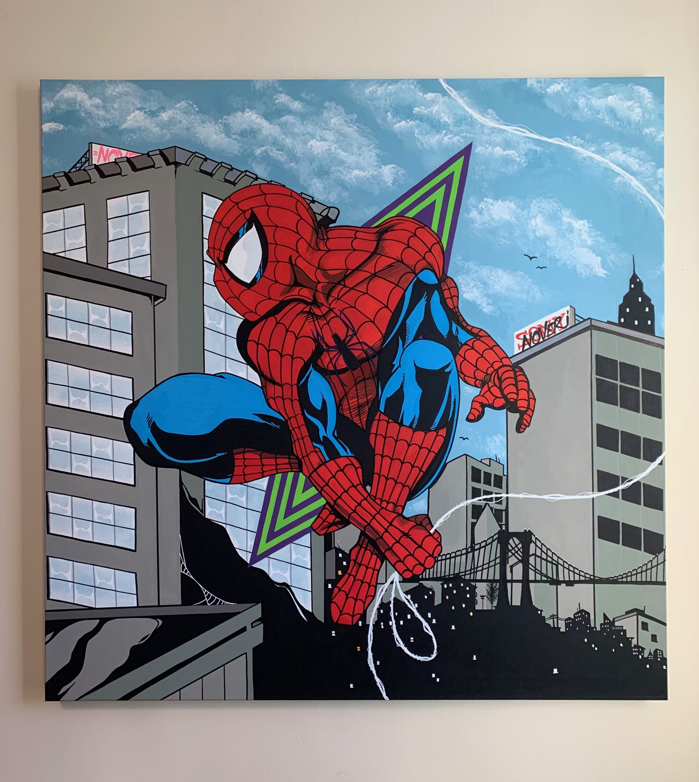 """""""Spider-Man"""" by Nover, 36 x 36'. Acrylic Paint on Canvas, 2019."""