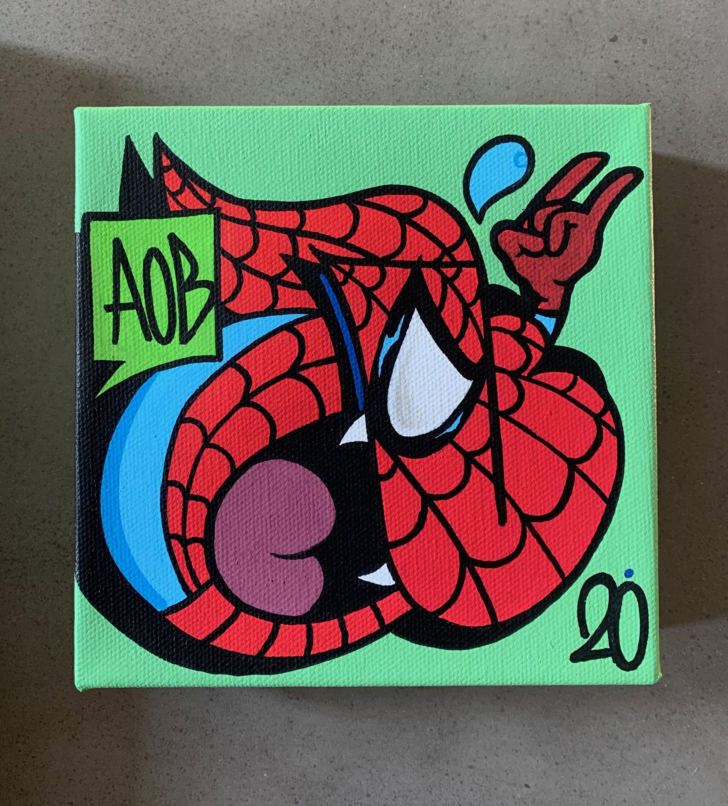 Nover Spider-Man Throwie Graffiti Canvas, 2020.