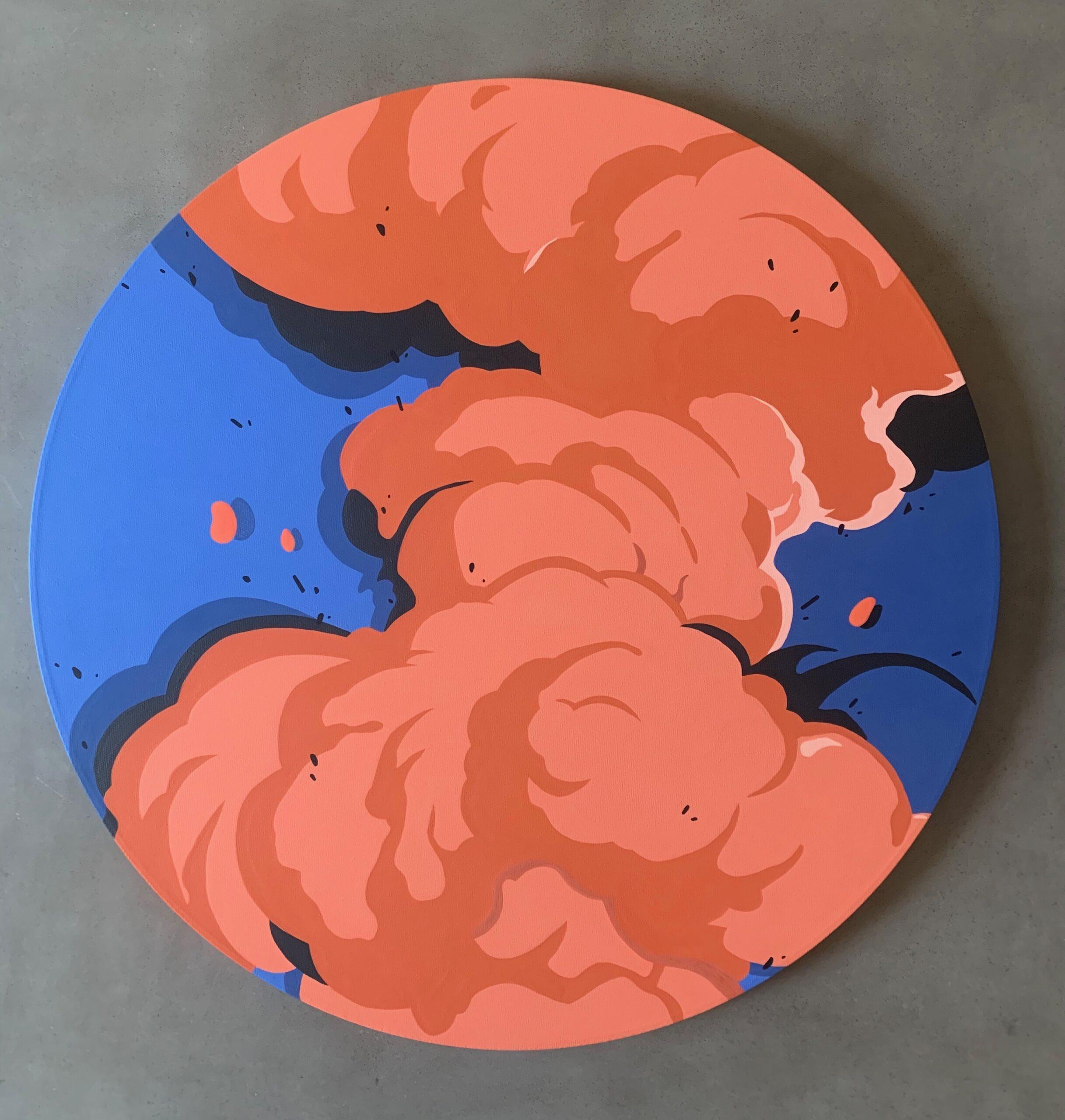 """Motion 1"" 24"" Round Canvas, Acrylic Paint. 2020."