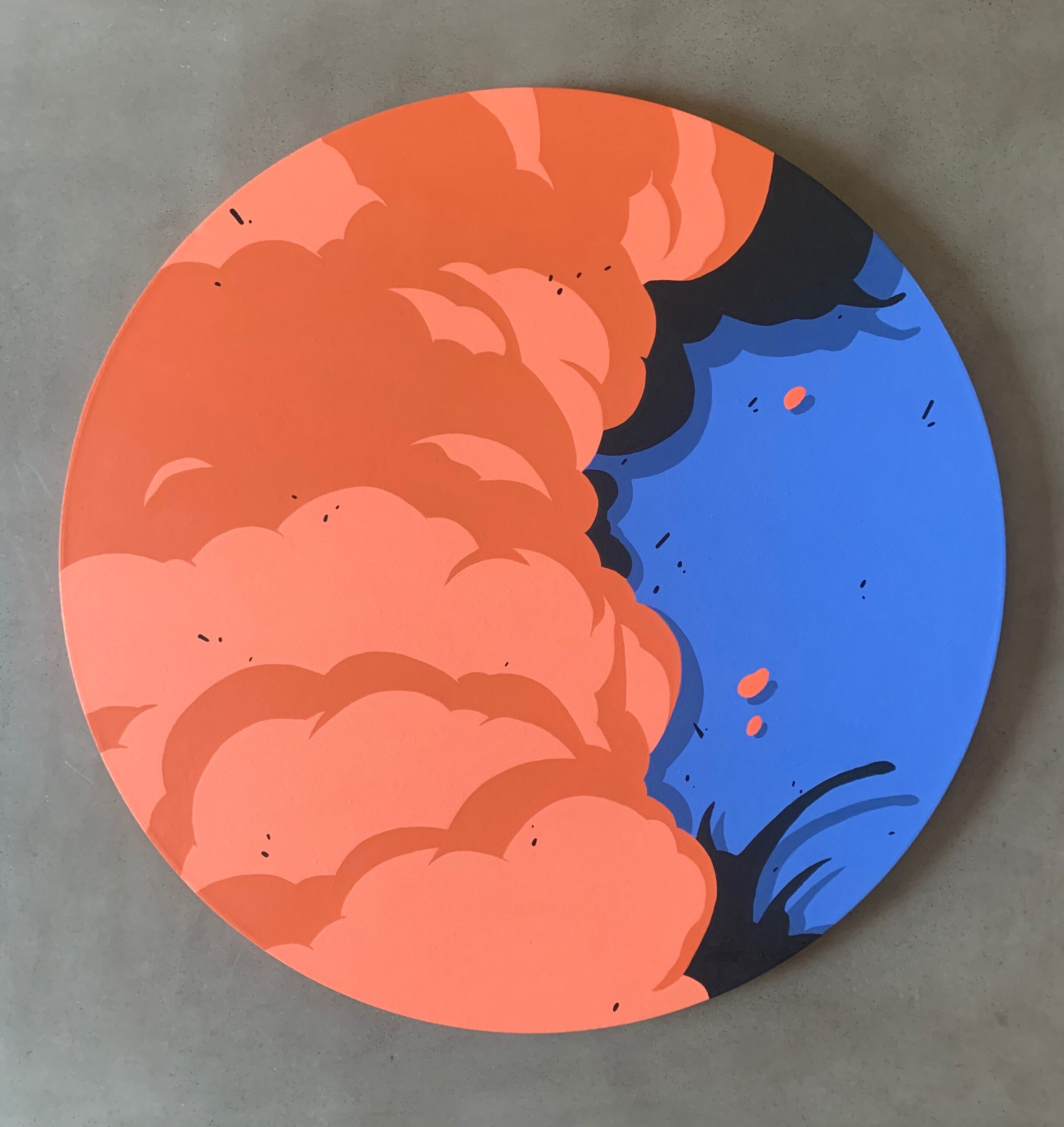 """Motion 2"" 24"" Round Canvas, Acrylic Paint. 2020."