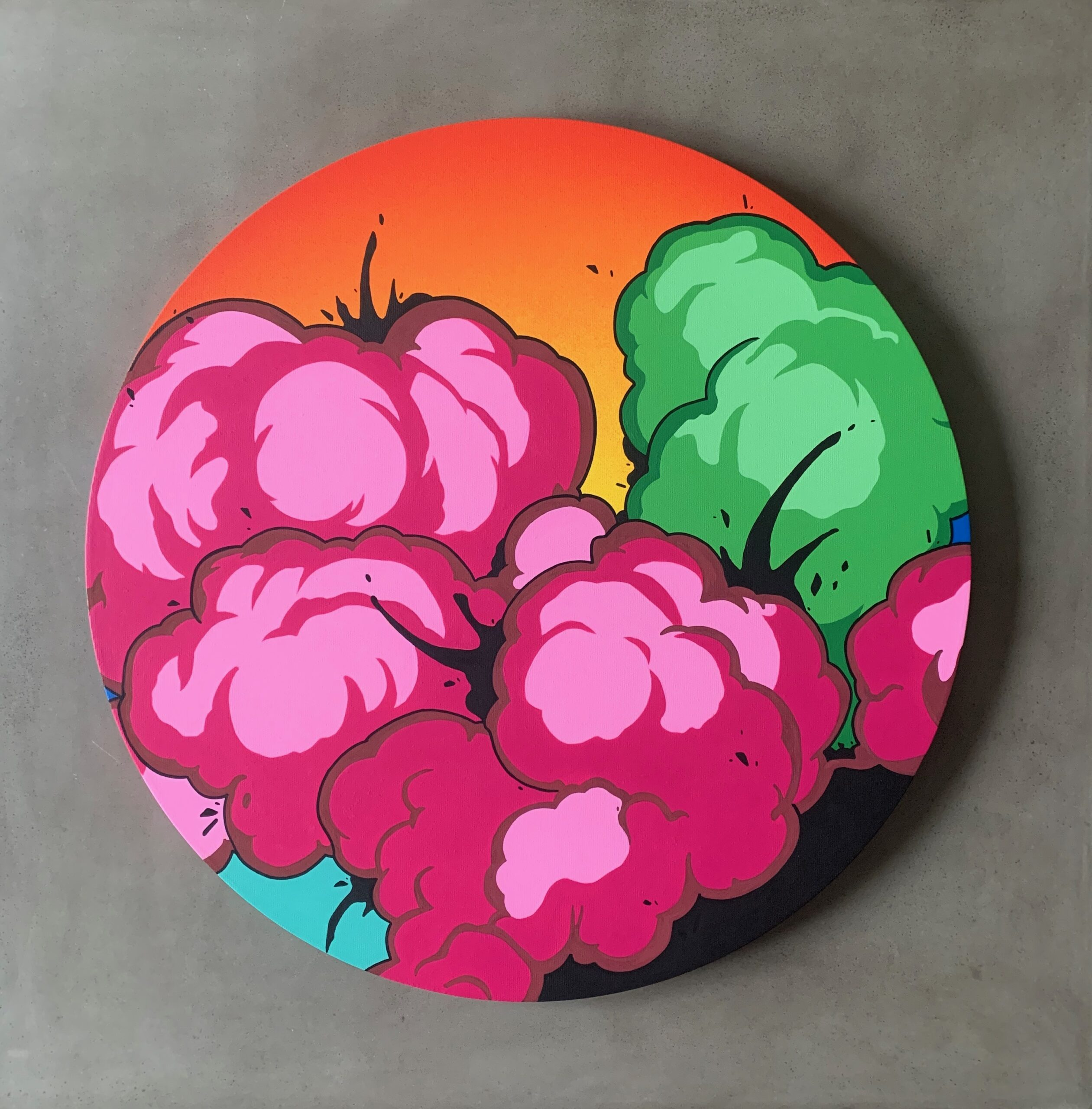"""Miami, 24"""" Gallery Wrapped Round Canvas. Done with Acrylic Paint, 2020."""
