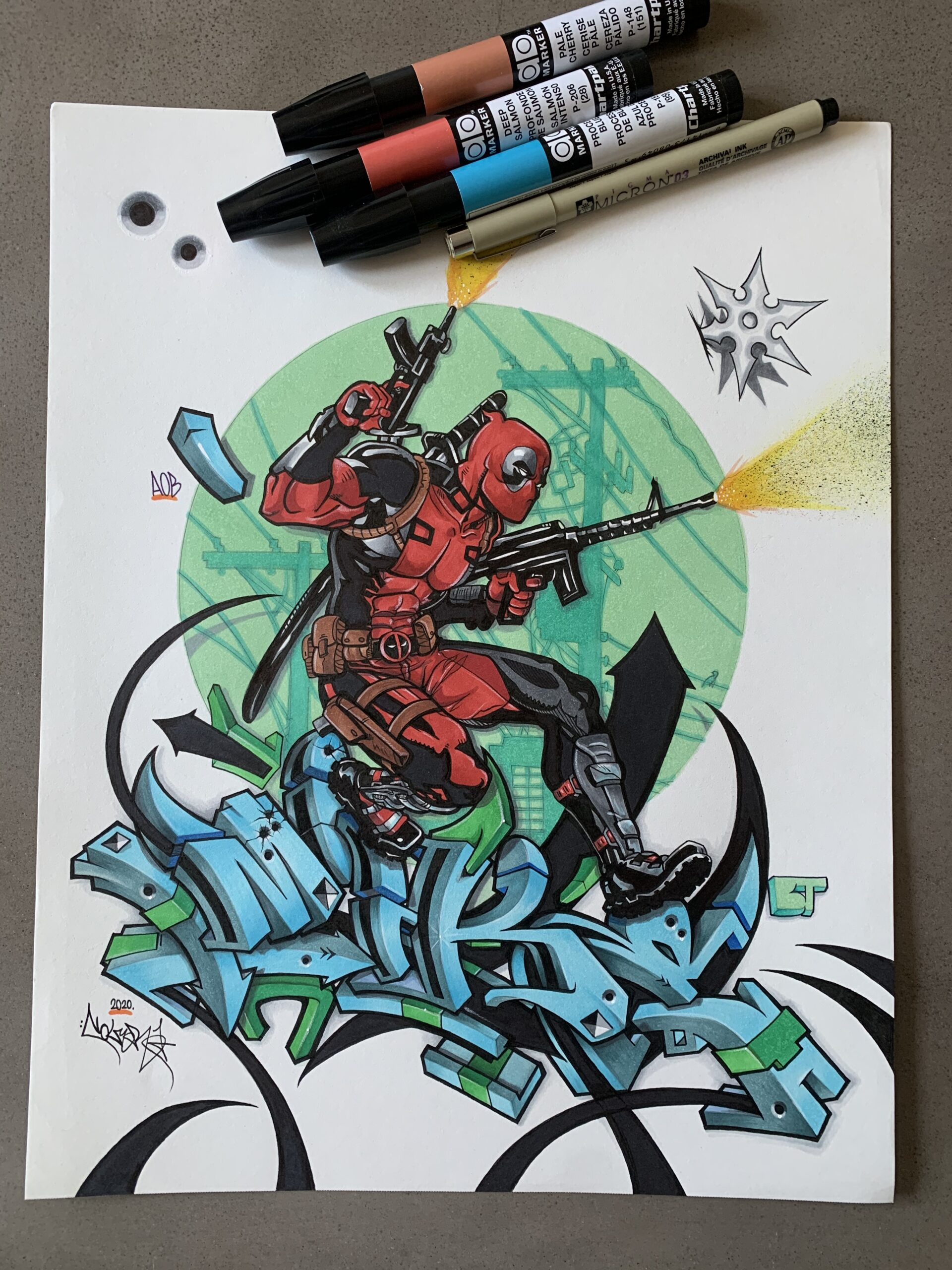 """Deadpool """"MIKE"""" in 3D on 11x14"""" Paper. Done with Markers & Pen, 2020."""
