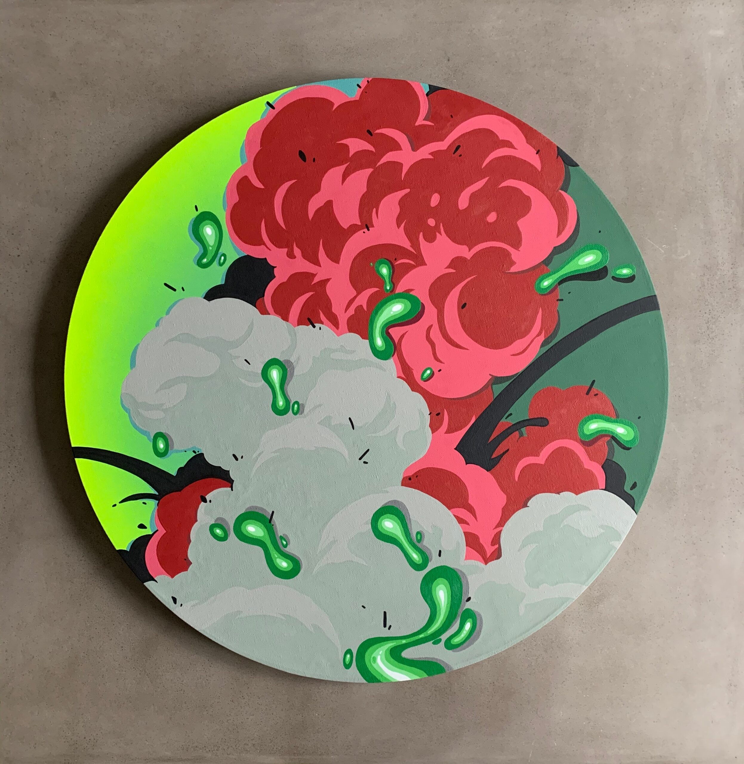 "Loom by Nover. 24"" Tondo Canvas, All Acrylic Paint, 2020."