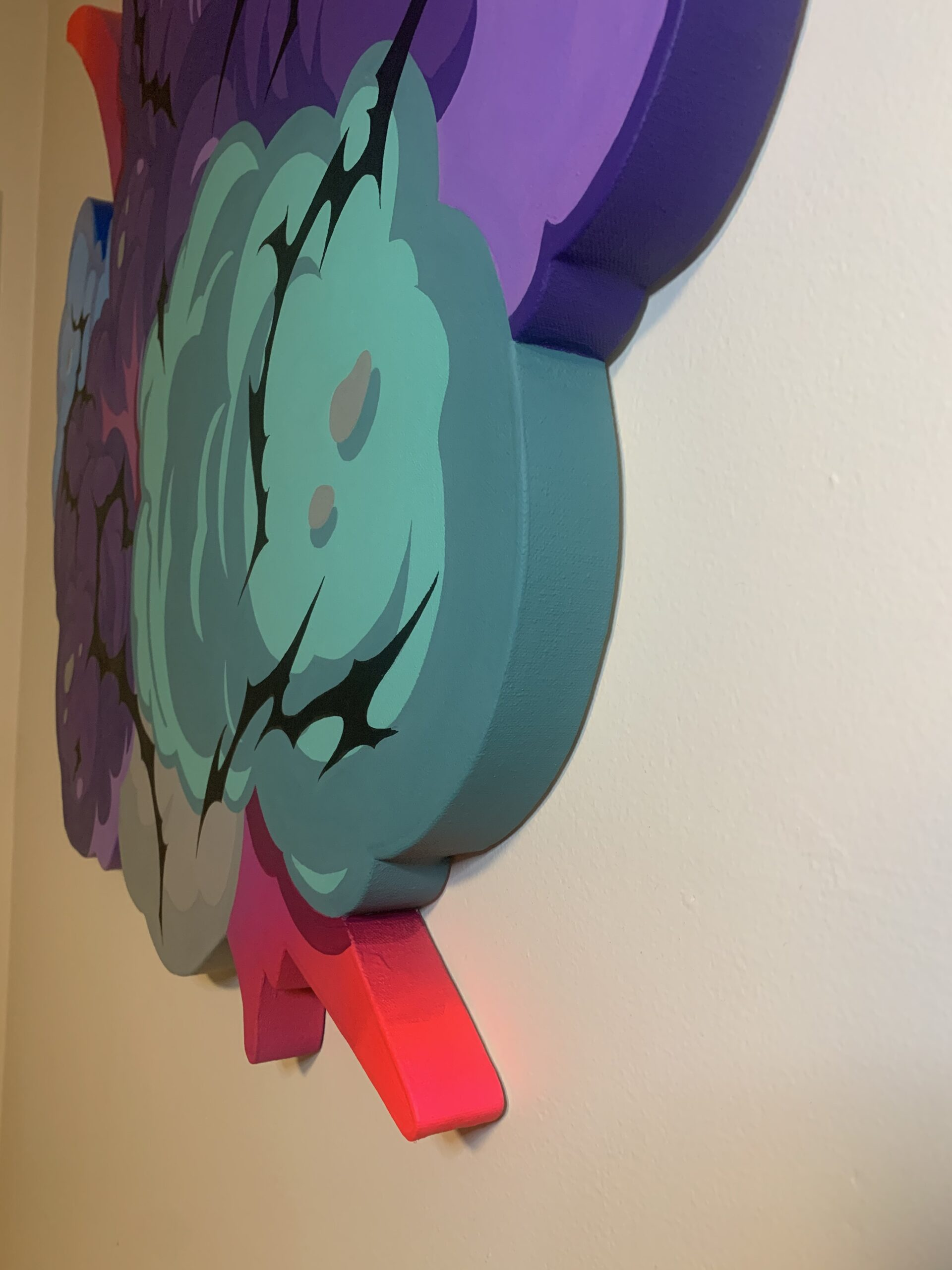 Implode by Nover. 3 1/2 Feet Tall Custom Shaped Canvas. 1 Of 1. All Acrylic Paint, 2019.