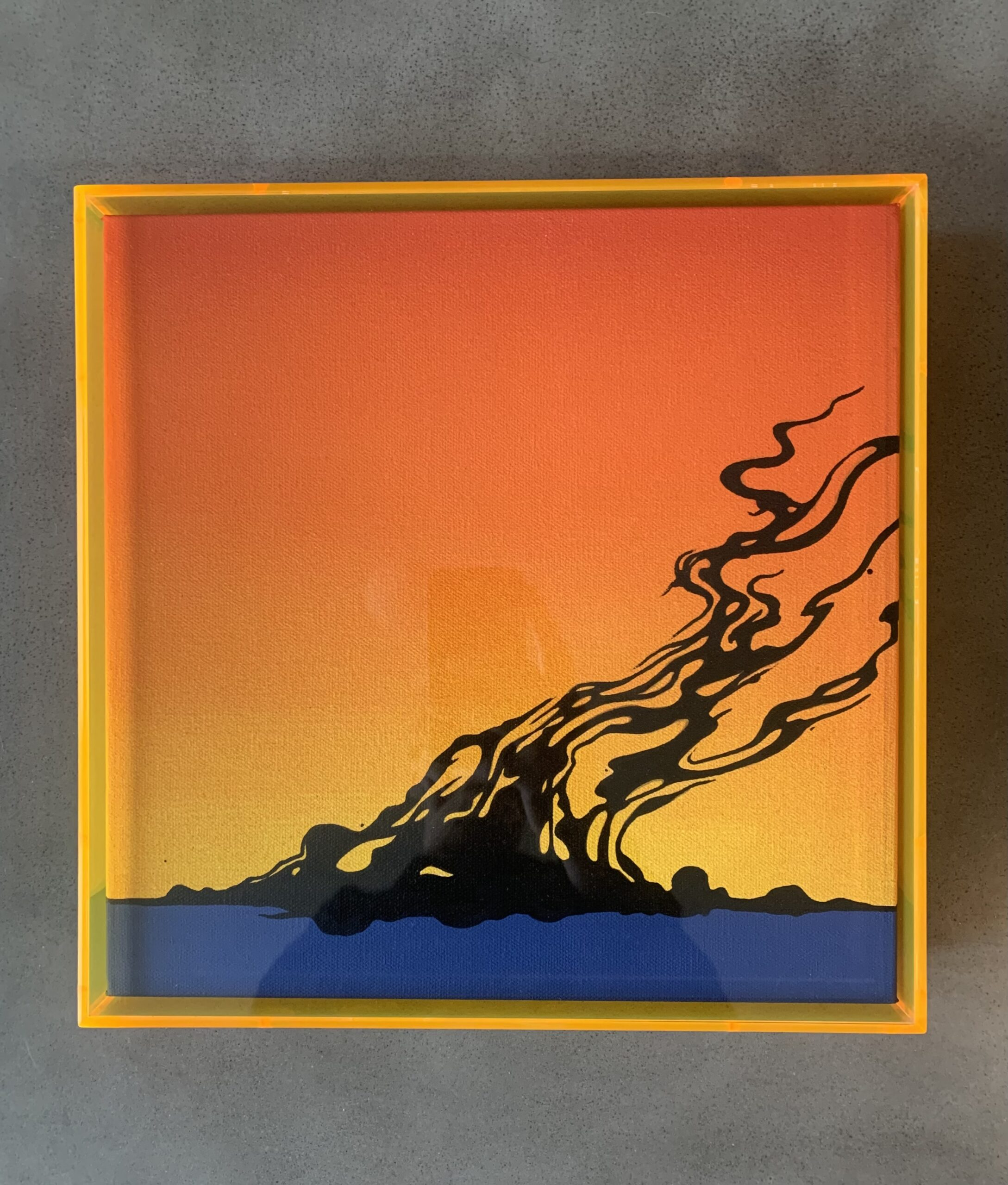 'Day After', 12x12' Gallery Wrapped Canvas inside a Orange Acrylic Case.