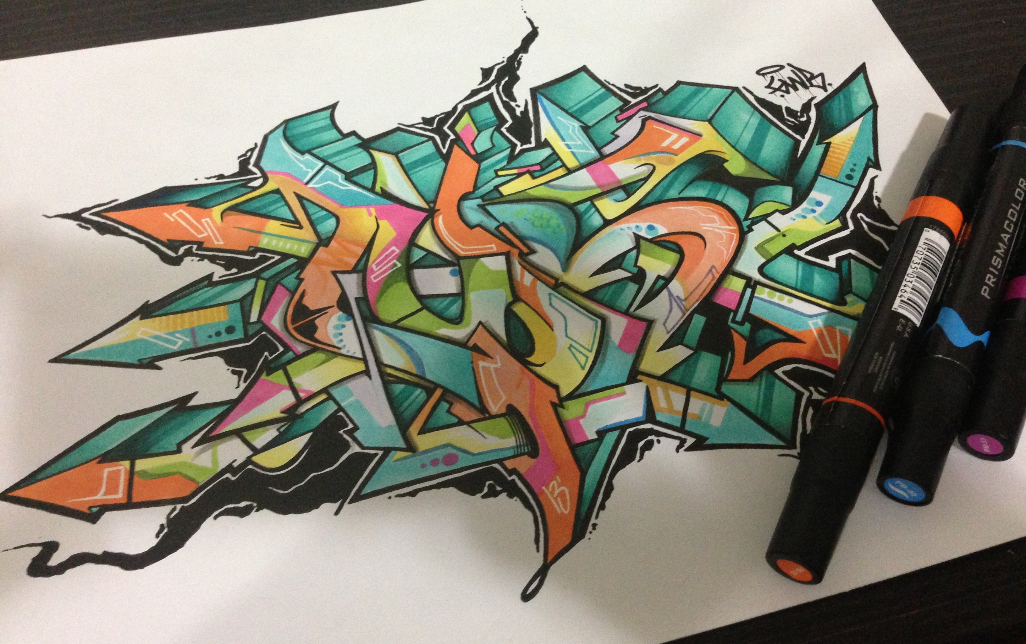 AOB by Nover, markers on paper, 2014.