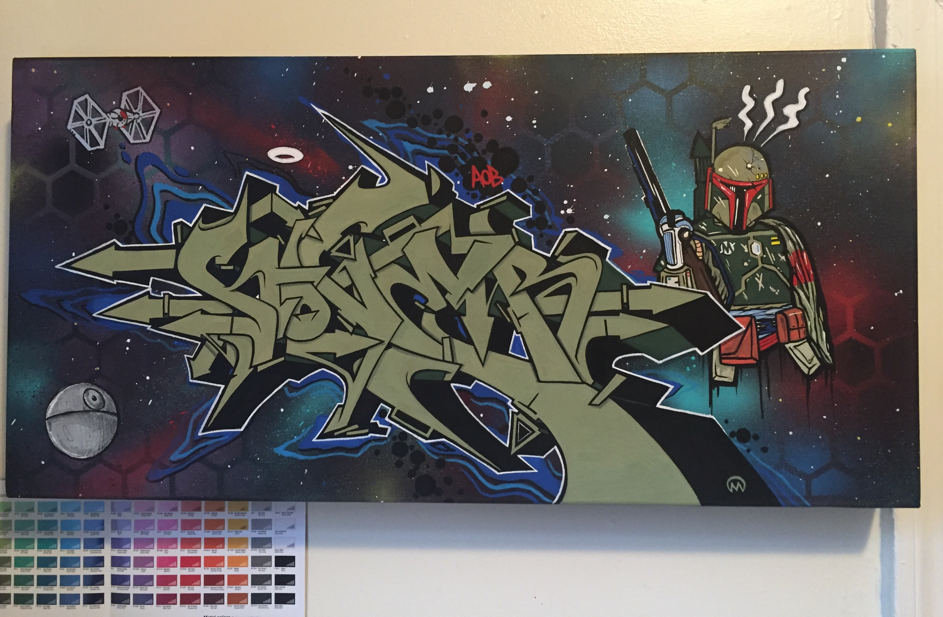 Boba Fett & Nover, Graffiti Canvas with Markers and Spray Paint. 2015.
