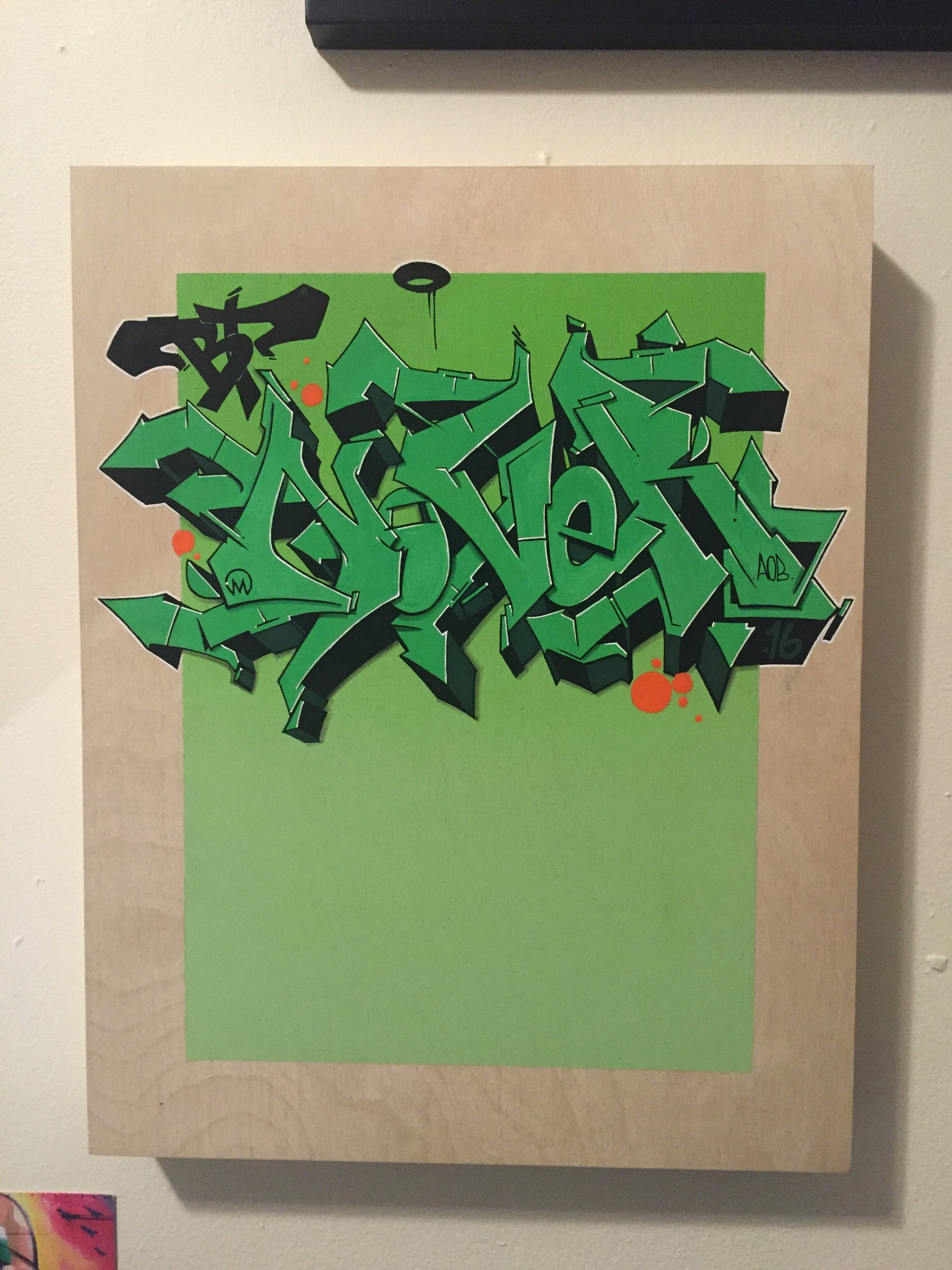 Nover, Graffiti on Wood Canvas with Markers and Spray Paint. 2016.