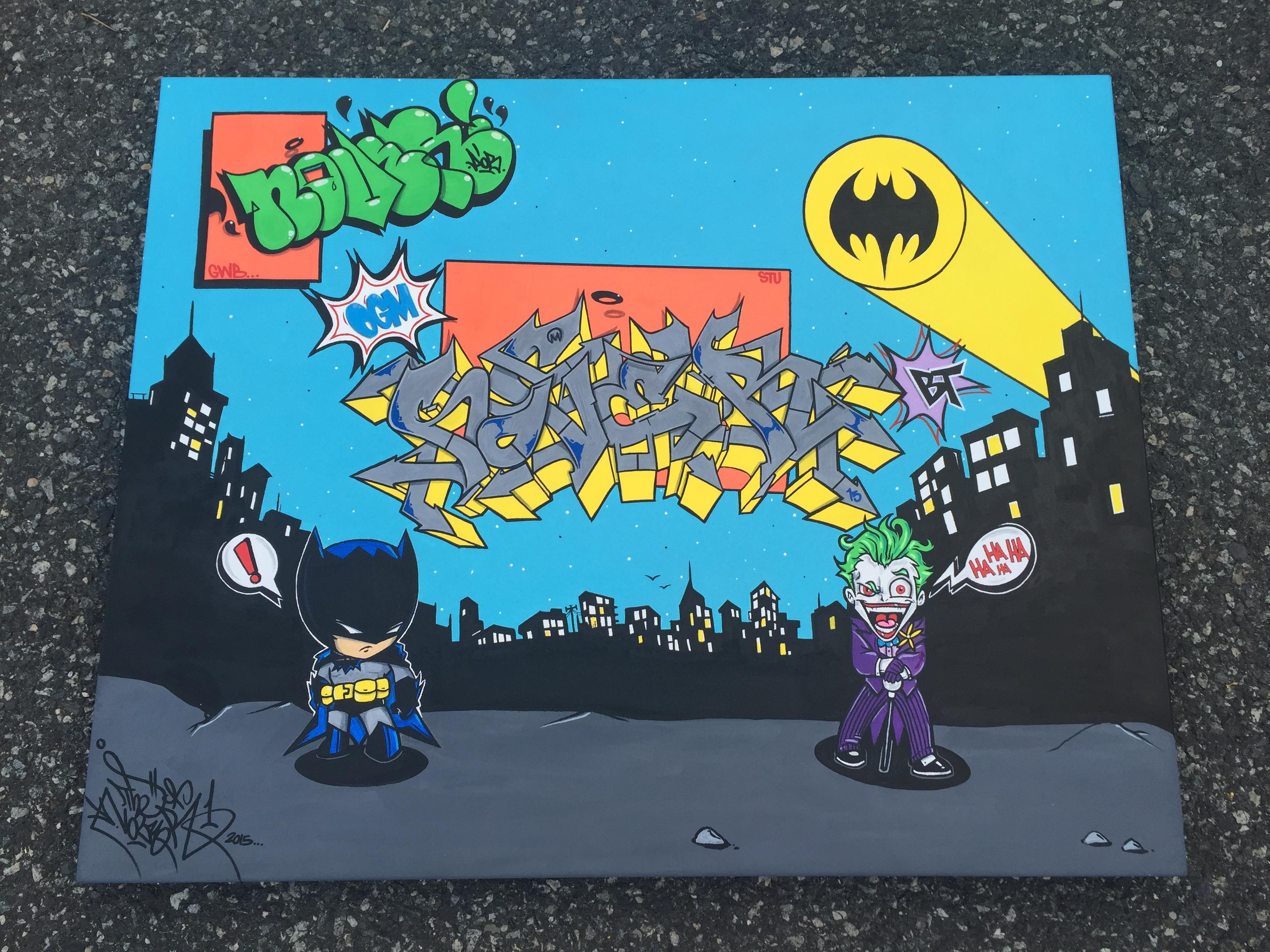 Batman & Joker, Nover on Canvas with Markers & Acrylic Paint. 2015.