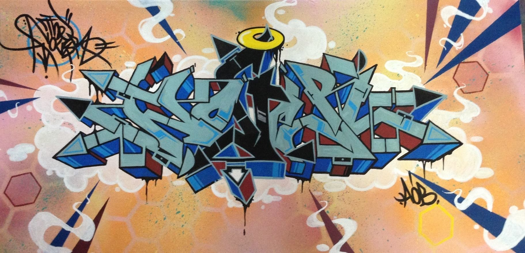Nover, Spray Paint & Markers on Canvas.  2014.
