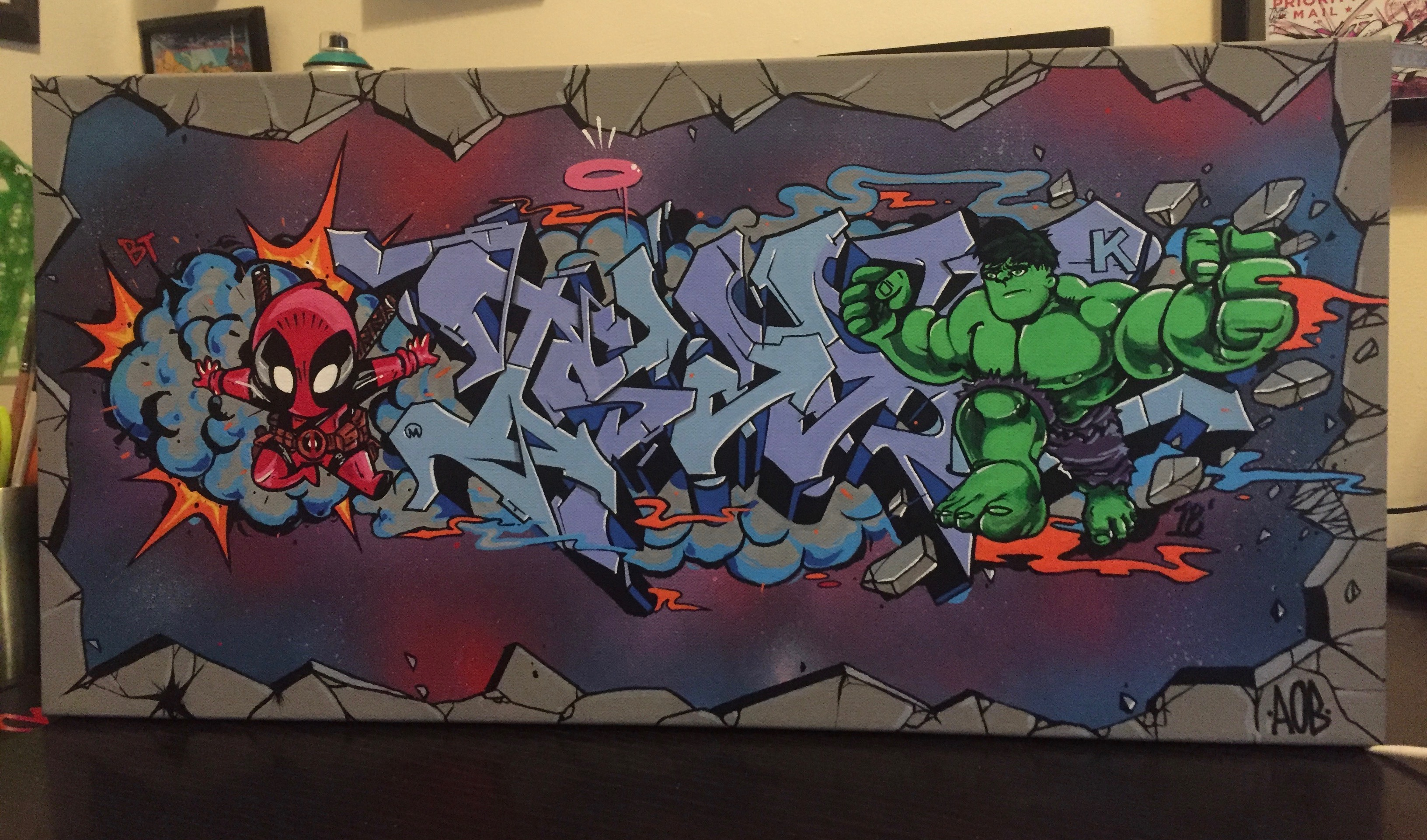 """Hulk x Spider-Man, """"ISAAK"""" by Nover. Spray Paint & Markers on Canvas. 2018."""