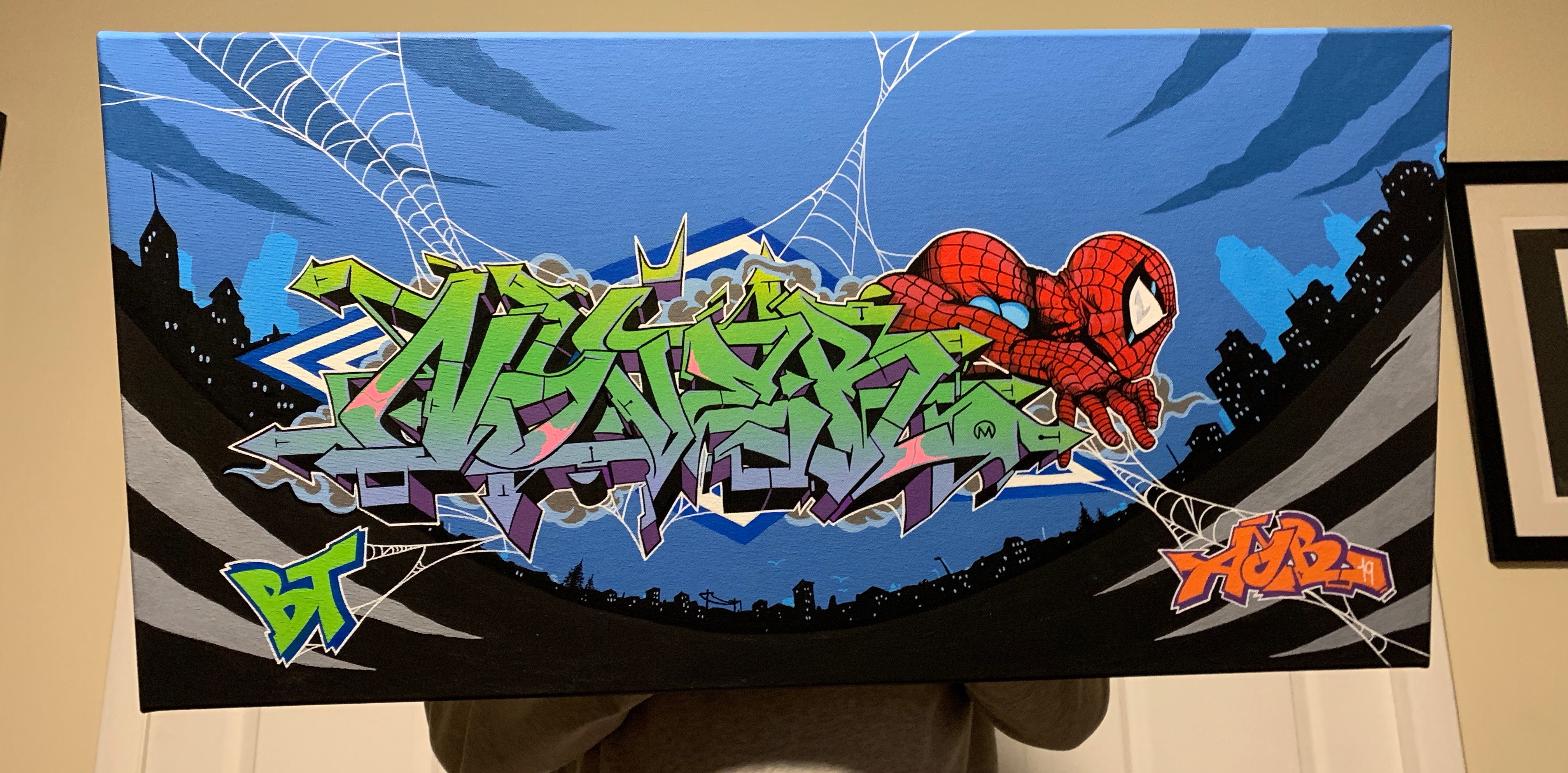 Spider-Man x Nover on 36 x 48' Canvas, Paint and Markers. 2019.