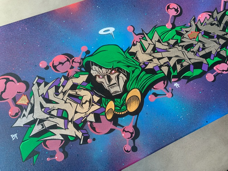 Doom x Nover Details, Markers and Spray Paint on Canvas. 2019.