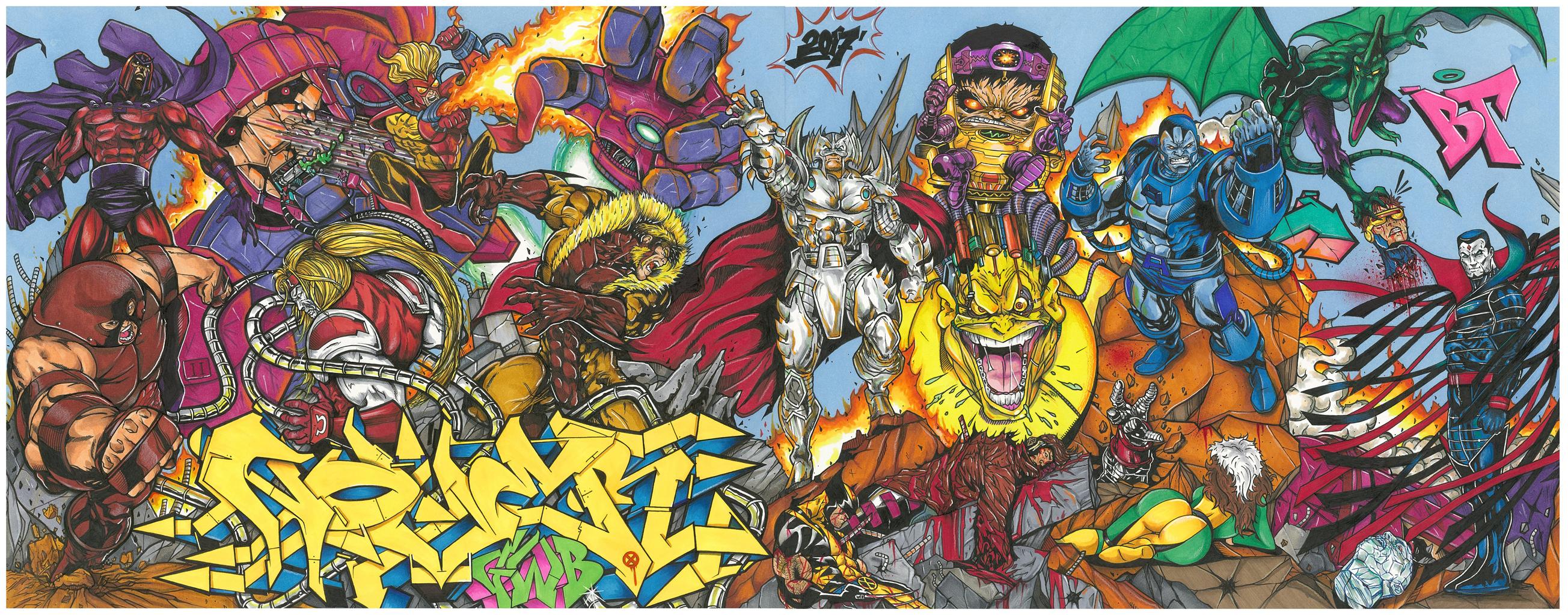 X-Men Villains by Nover, Markers & Pens on Paper, 2018.