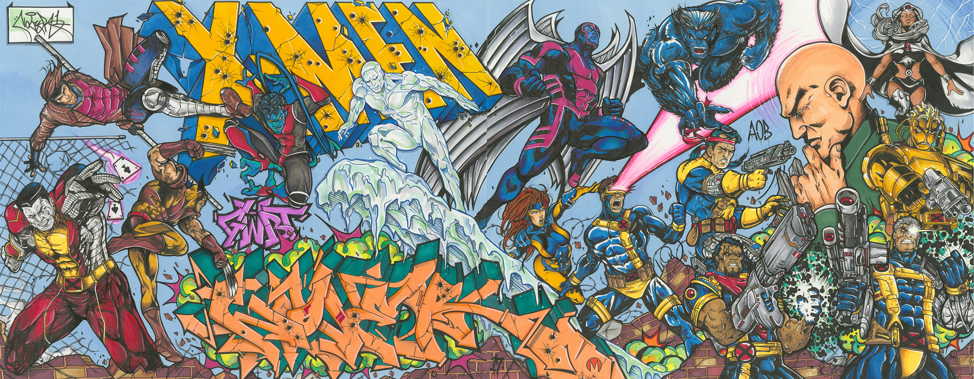 X-Men Heroes by Nover, Markers & Pen on Paper, 2018.