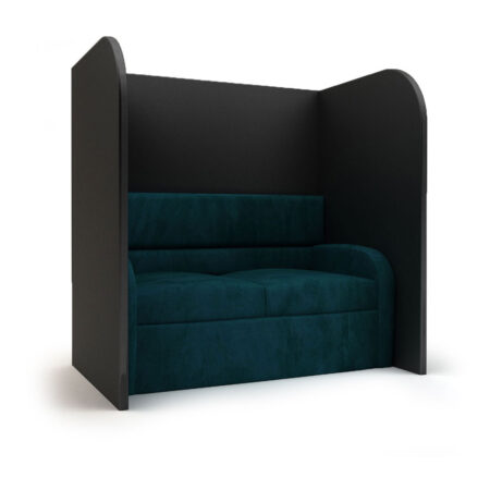 teal booth with privacy walls for lap dances