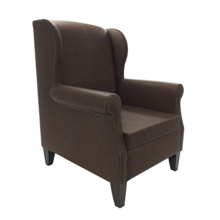 leather armchair with tapered legs