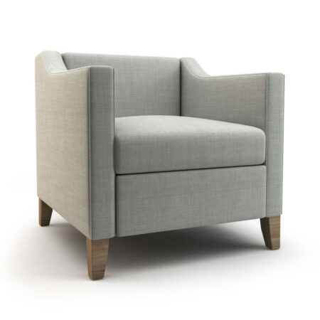 gray lounge chair with sloped arms and tapered wood legs