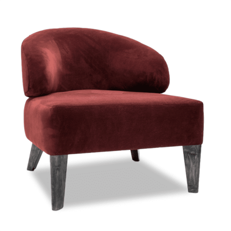 accent slipper chair in red velvet with wood legs