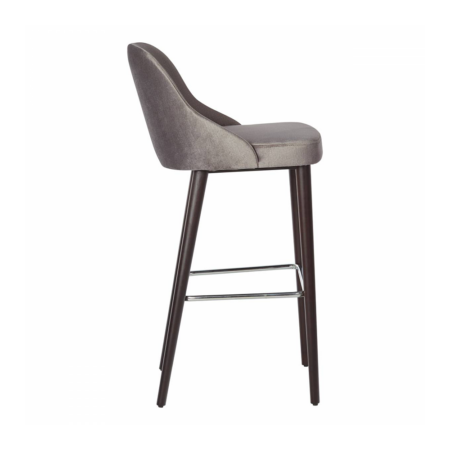 gray barstool with footrail