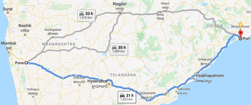 Pune-Odisha routes