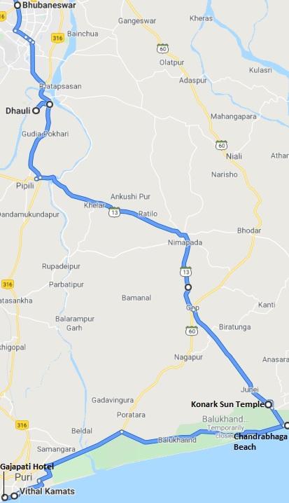 Puri-Konark-Bhubaneshwar