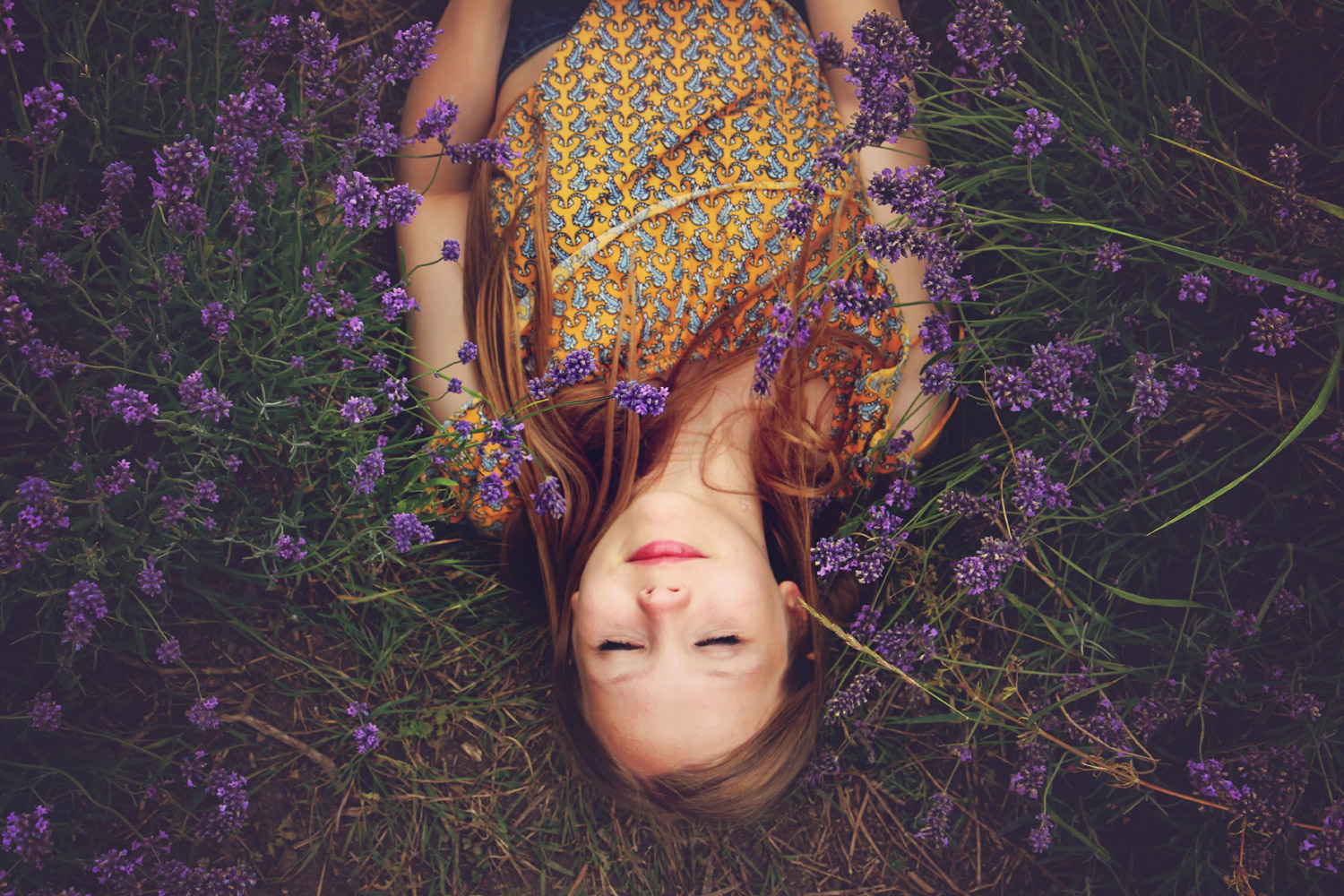 Woman sleeping in flower field insomnia