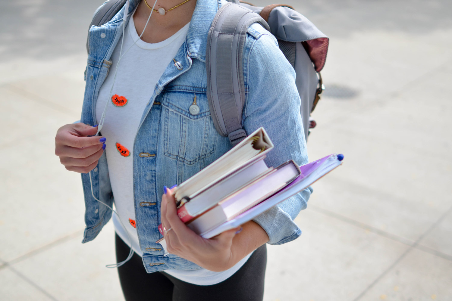 Woman with books test anxiety
