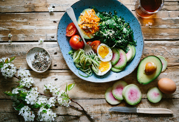 Healthy food on plate nourishing food