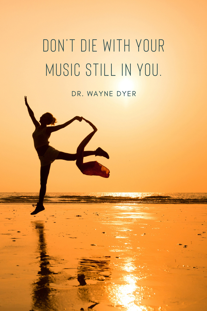 Quote by Wayne Dyer: 'Don't die with your music still in you' , life purpose quotes , Picture of happy woman jumping on beach