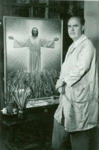 Christian Artist Ralph Pallen Coleman in front of religious painting Jesus Calls Us