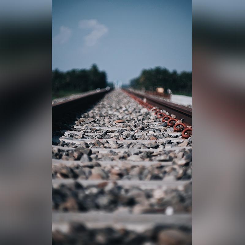 Close-up shot on train track