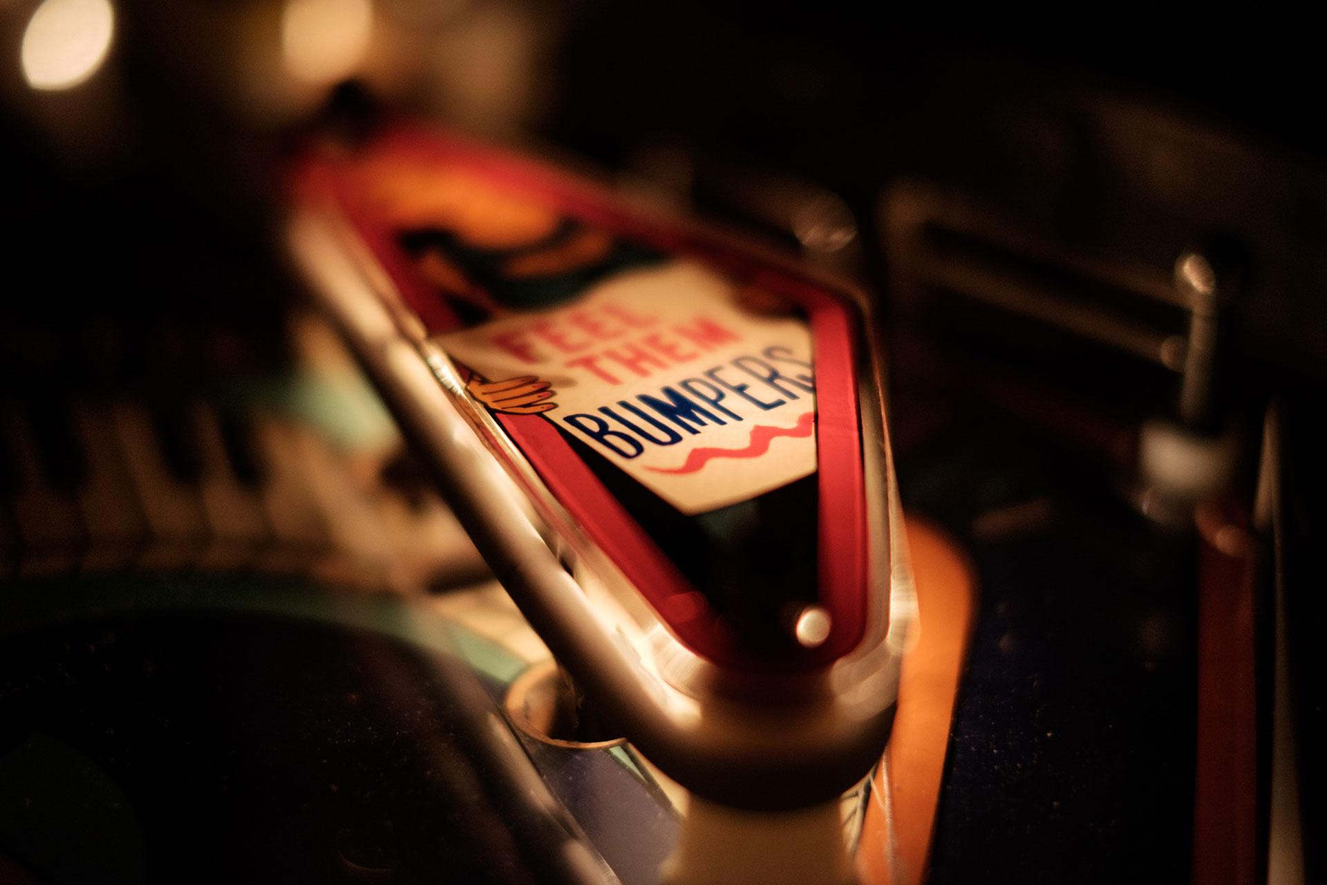Close-up shot of pinball machine