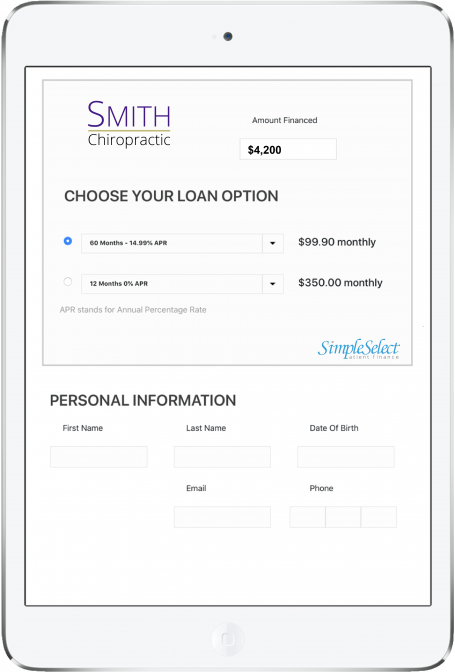 SimpleSelect offers patients the best patient financing terms in the industry