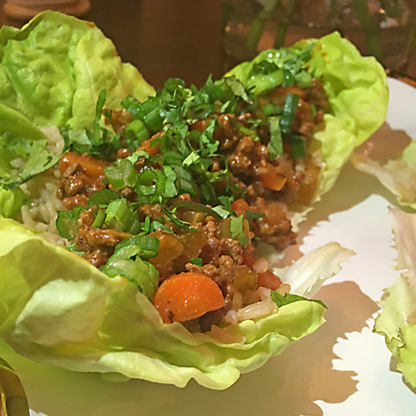 Thai Ground Beef Lettuce Wraps