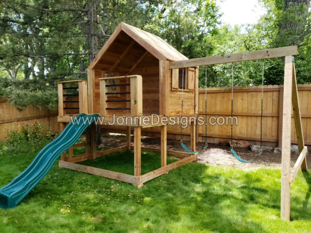 5'x8' Clubhouse with wooden roof, 3'x8' uncovered porch with horizontal rails, Enclosed back wall, enclosed side walls with windows, 4' Standard slide, Ladder entry, 8' Swing beam with 2 Standard swings.
