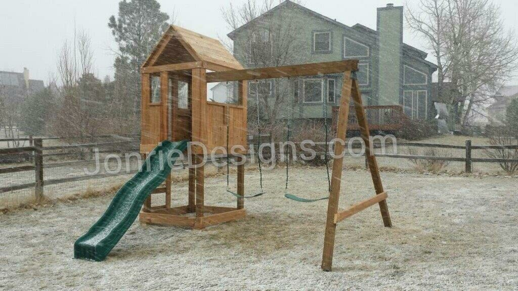 4'x4' Clubhouse with wooden roof, 4' Deck Height, Standard slide, Ladder entry, 8' Swing beam with 2 Standard swings