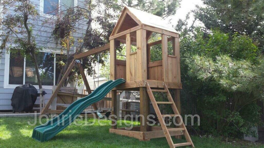 4'x4' Clubhouse with wooden roof, 4' Deck Height, Standard slide, Slanted ladder entry, 8' Swing beam with 2 Standard swings