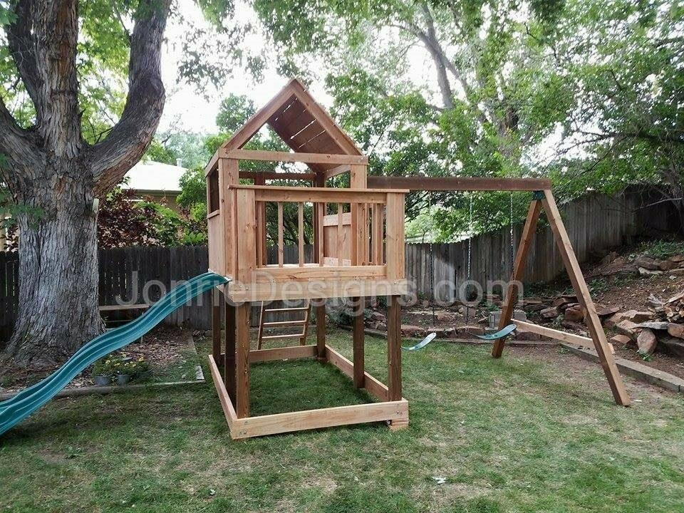 5'x5' Clubhouse with wooden roof with 3'x5' Uncovered porch with baluster rails (5'x8' Footprint), 4' Deck height, Standard slide, Slanted ladder 8' Swing beam with 2 Standard swings