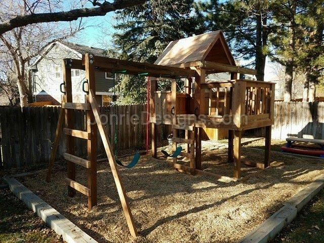 5'x5' Clubhouse with wooden roof, 3'x5' Uncovered porch with banister rails (5'x8' footprint), 4' deck height, Fireman pole, 8' Monkey bars with dual ladders & 2 Standard swings