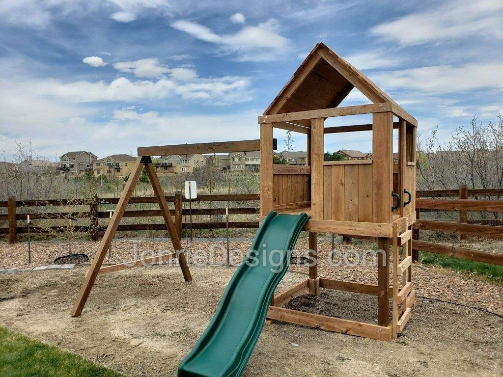 5'x5' Clubhouse with wooden roof, 4' deck height, 4' Standard slide, Ladder entry, 8' Swing beam with 2 Standard swings