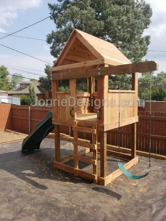 5'x5' Clubhouse with wooden roof, 4' Deck height, 4' Upgraded slide, Ladder entry, 3' Cantilever & Standard swing