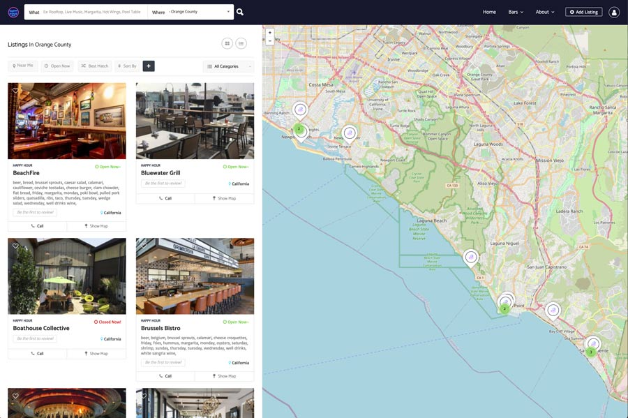 Listing page with map