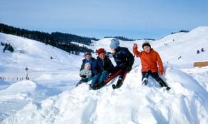 Playing on snowbanks.