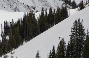 Mark and Cody on the skin track.