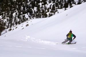 """Skiing the """"Cody Chute"""".  Photo courtesy Mike Garrett"""