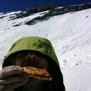 Refueling with a yummy slice of cold pepperoni pizza.