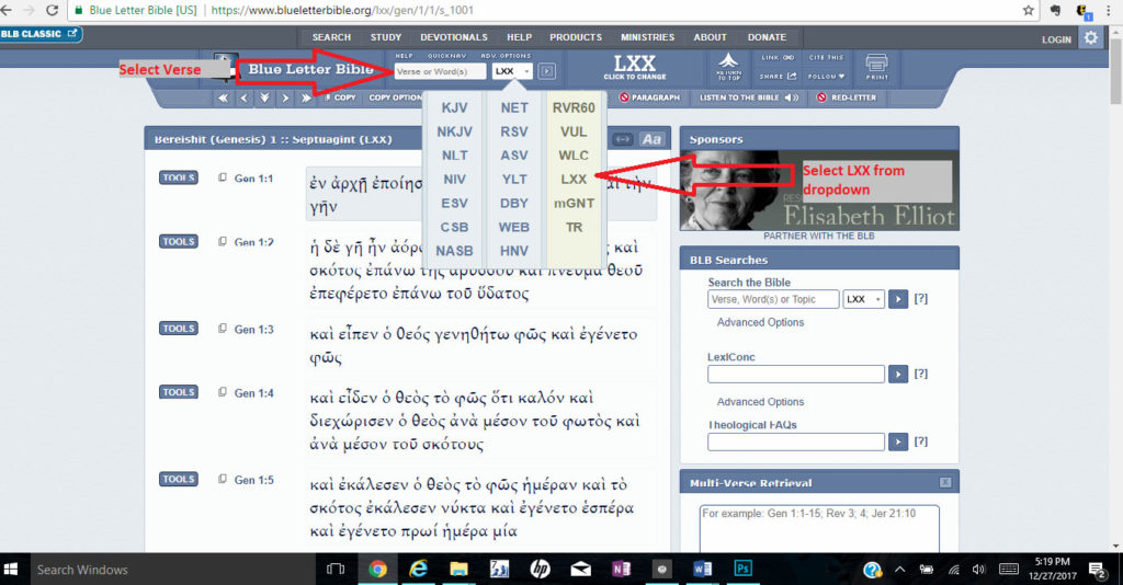 English and Hebrew can be added to this view for cross reference, as well as dictionaries and commentaries.